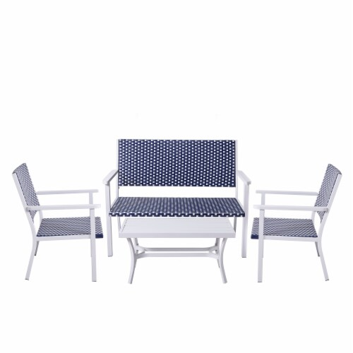 Peaktop Patio Furniture Set Table & 4 Chair White Blue Wicker Coastal PT-OF0002 Perspective: front