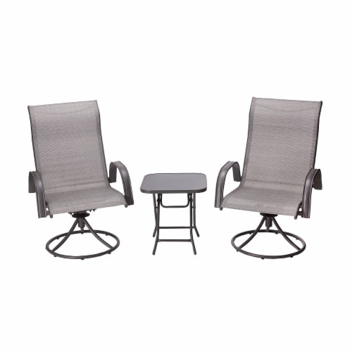 Peaktop Patio Furniture Set Garden Table & 2 Chairs Gray Bistro Set PT-OF0003 Perspective: front