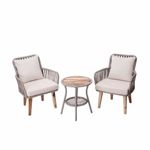 Peaktop Patio Furniture Set Table & 2 Chairs Wicker Bistro Set Brown PT-OF0008 Perspective: front