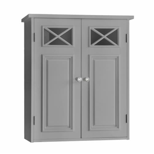 Elegant Home Fashions Bathroom Wall Cabinet With Two Doors Grey Dawson EHF-6810G Perspective: front