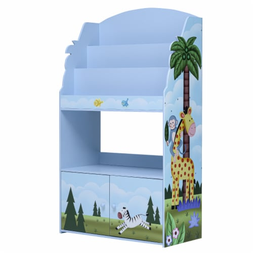 Fantasy Fields Kids Wooden Bookcase 3 Tier & Drawer Sunny Safari TD-13394SS Perspective: front
