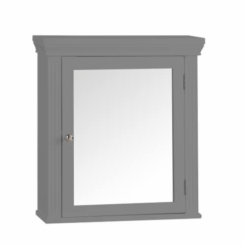 Elegant Home Fashions Wooden Bathroom Medicine Cabinet Mirror Grey EHF-6544G Perspective: front