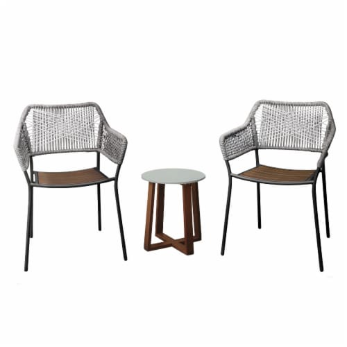 Peaktop Patio Furniture Set Table & 2 Chairs Stackable Bistro Set Wood PT-OF0012 Perspective: front