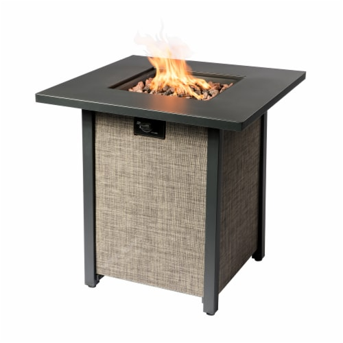 Peaktop Firepit Outdoor Gas Fire Pit Metal Fabric, Lava Rock, Cover HF28201AA Perspective: front