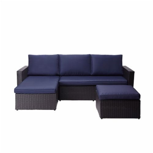 Peaktop Patio Furniture Sofa Set Garden Chairs Blue & Gray Rattan PT-OF0007 Perspective: front