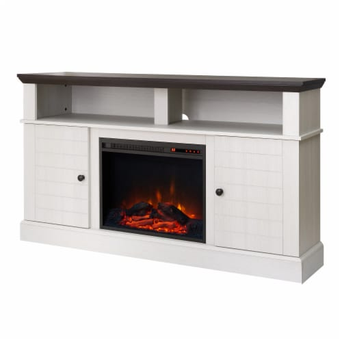 """Versanora 60"""" Fireplace TV Stand Unit & Remote 23"""" Insert White Eliana VNF-00100 Perspective: front"""