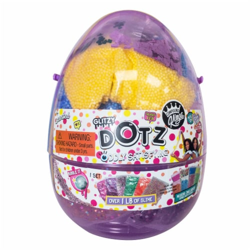 Compound Kings Glitzy Dots Oddly Satisfying Mix & Mash Slime Egg Set Perspective: front