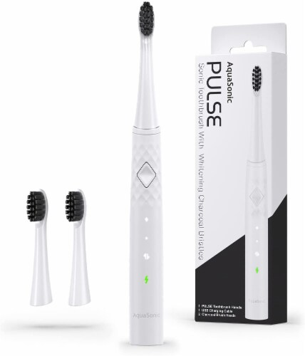 AquaSonic Pulse – Electric Toothbrush w Activated Charcoal, WHITE Perspective: front