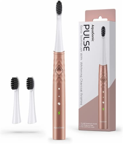 AquaSonic Pulse – Electric Toothbrush w Activated Charcoal, ROSE GOLD Perspective: front