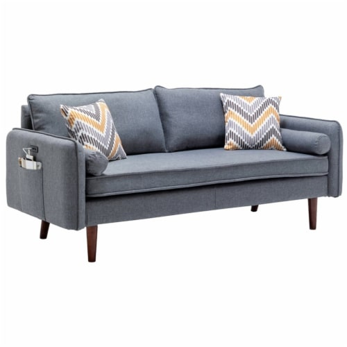 Lana Mid-Century Modern Gray Fabric Sofa Couch with USB Charging Ports Perspective: front