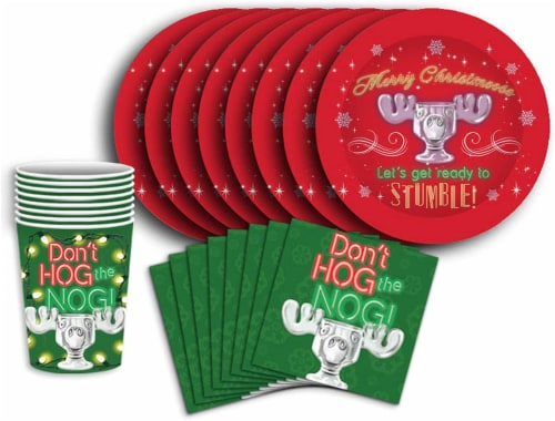 National Lampoons Christmas Vacation 60 Piece Party Tableware Set | Cups | Plates | Napkins Perspective: front