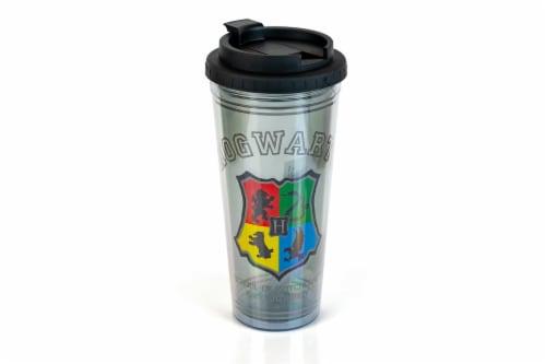 Harry Potter Hogwarts Crest 24oz Double Walled Plastic Travel Mug Perspective: front
