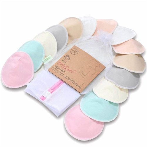 "COMFY Organic Bamboo Nursing Pads (Pastel Touch, Large 4.8"") Perspective: front"