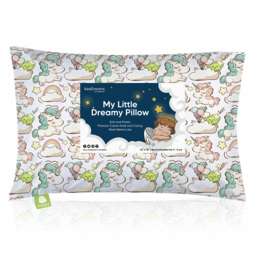 Hypoallergenic Toddler Pillow with 100% Cotton Pillowcase (Unicorn Dreams) Perspective: front