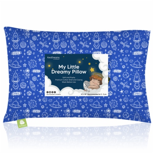 Hypoallergenic Toddler Pillow with 100% Cotton Pillowcase (Off to Space) Perspective: front