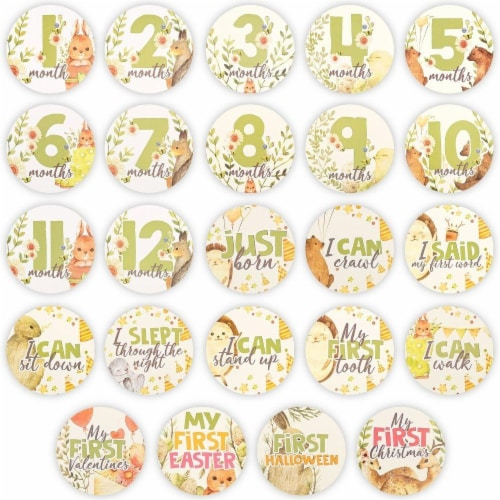24 Baby Milestone Stickers Perspective: front
