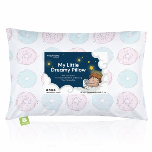 Hypoallergenic Toddler Pillow with 100% Cotton Pillowcase (Donuts) Perspective: front