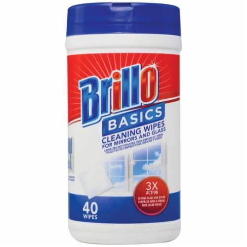 Brillo Basics 5.9 In. x 7.9 In. Wipes Glass Cleaning Wipes (40-Pack) Pack of 12 Perspective: front