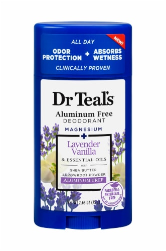 Dr Teal's Lavender Vanilla Aluminum Free Deodorant Perspective: front