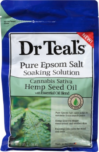 Dr Teal's Hemp Seed Oil Pure Epsom Salt Bath Soak Perspective: front