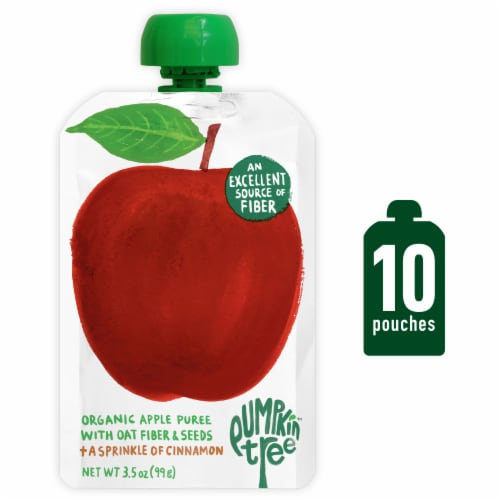 Pumpkin Tree Organic Apple Puree + Cinnamon Baby Food Pouch Perspective: front
