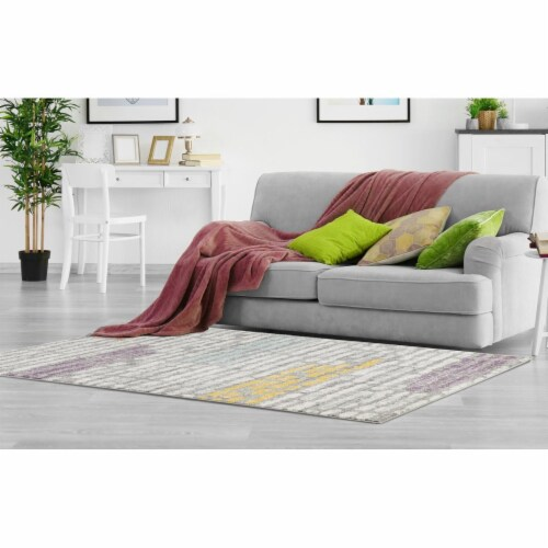 L Baiet CH713G23 Alice Striped Rug, Grey - 2 x 3 ft. Perspective: front