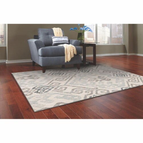 L Baiet RS214G23 Melody Geometric Rug, Grey - 2 x 3 ft. Perspective: front