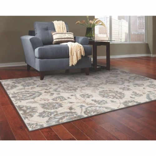L Baiet DN140B23 Emery Floral Rug, Grey - 2 x 3 ft. Perspective: front