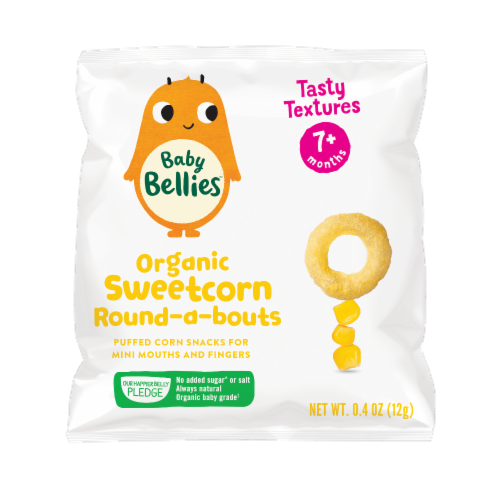 Little Bellies Baby Bellies Organic Sweetcorn Round-a-bouts Snack Perspective: front