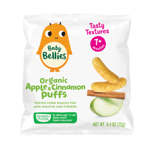 Little Bellies Baby Bellies Organic Apple & Cinnamon Puffs Snack Perspective: front