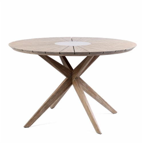 Oasis Outdoor Light Eucalyptus Wood and Concrete Round Dining Table Perspective: front