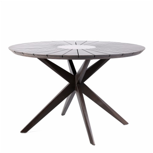 Oasis Outdoor Dark Eucalyptus Wood And, Concrete Round Dining Table For 6