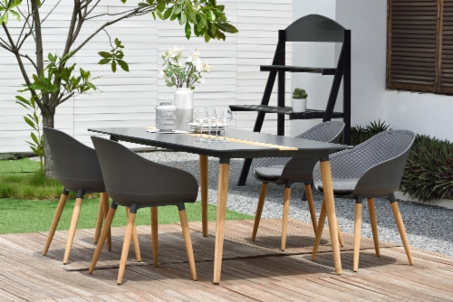 Ipanema 5 piece Outdoor Dining Set with Aluminum Table in Natural Teak Wood Perspective: front