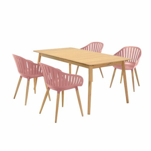 Nassau 5 piece Outdoor Dining Set in Natural Wood Finish Table and Pink Peony Arm Chairs Perspective: front