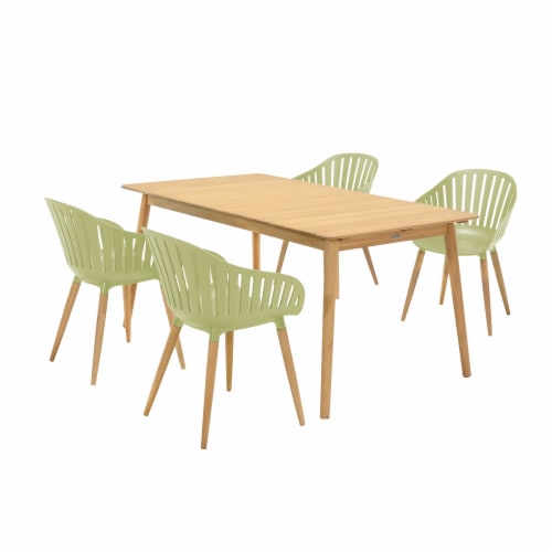 Nassau 5 piece Outdoor Dining Set in Natural Wood Finish Table and Sage Green Arm Chairs Perspective: front