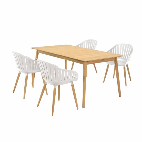 Nassau 5 piece Outdoor Dining Set in Natural Wood Finish Table and Sand Taupe Arm Chairs Perspective: front