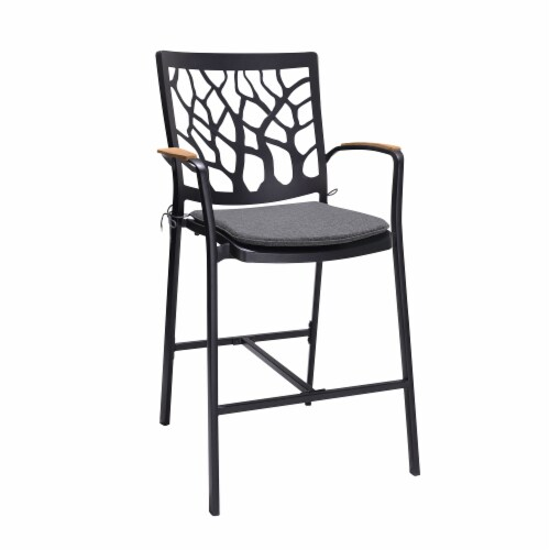 Portals Outdoor Patio Aluminum Barstool in Black with Natural Teak Wood Accent and Cushions Perspective: front