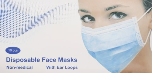 Disposable Face Masks with Ear Loops Perspective: front
