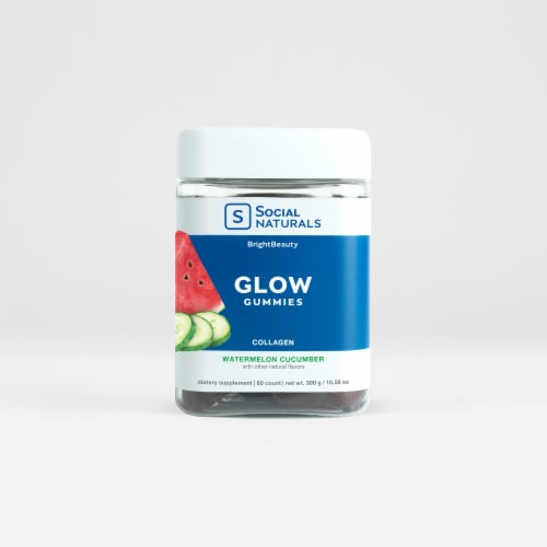 Social Naturals Watermelon Cucumber Glow Gummies Perspective: front