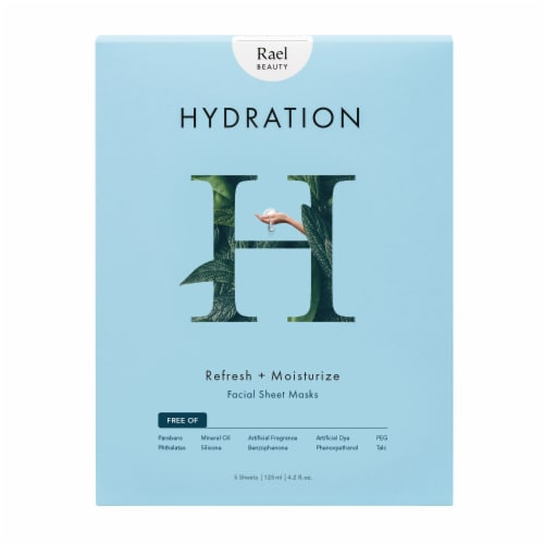 Rael Beuty Hydraton Refresh + Moisture Facial Sheet Masks 5 Count Perspective: front
