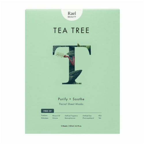 Rael Beauty Tea Tree Purify + Soothe Facial Sheet Masks 5 Count Perspective: front