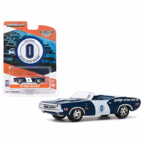 Greenlight 30145 1-64 Scale 1971 Dodge Challenger Convertible Official Pace No.0 Blue & White Perspective: front