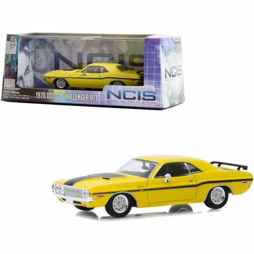 1970 Dodge Challenger R/T Yellow with Black Stripes \NCIS\ (2003) TV Series Diecast Model Car Perspective: front