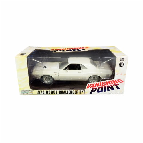 Greenlight 13582 1-18 Scale 1970 Dodge Challenger R & T White Vanishing Point 1971 Movie Diec Perspective: front