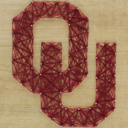 Oklahoma Sooners Team Pride String Art Craft Kit Perspective: front