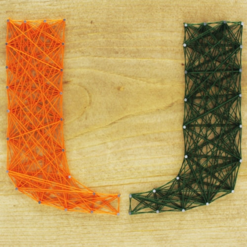 Miami Hurricanes Team Pride String Art Craft Kit Perspective: front
