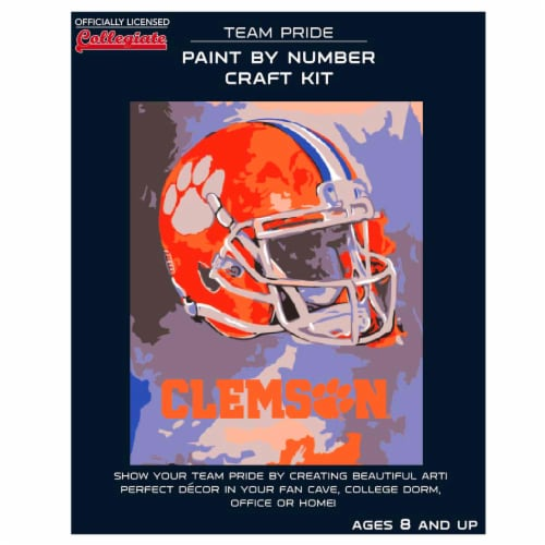 Clemson Tigers Team Pride Paint by Number Craft Kit Perspective: front