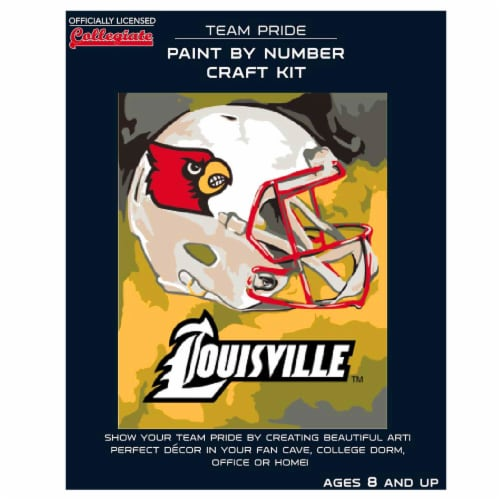 Louisville Cardinals Team Pride Paint by Number Craft Kit Perspective: front