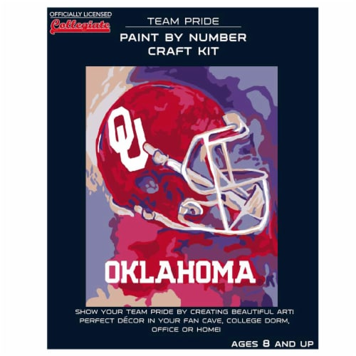 Oklahoma Sooners Team Pride Paint by Number Craft Kit Perspective: front