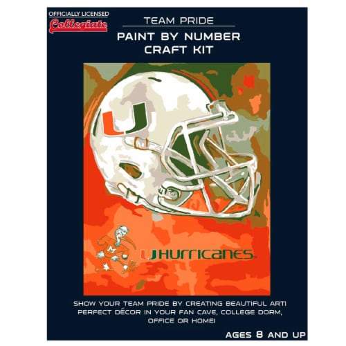 Miami Hurricanes Team Pride Paint by Number Craft Kit Perspective: front